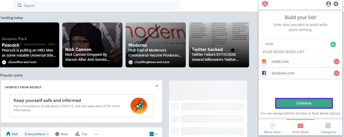 work mode blocked sites
