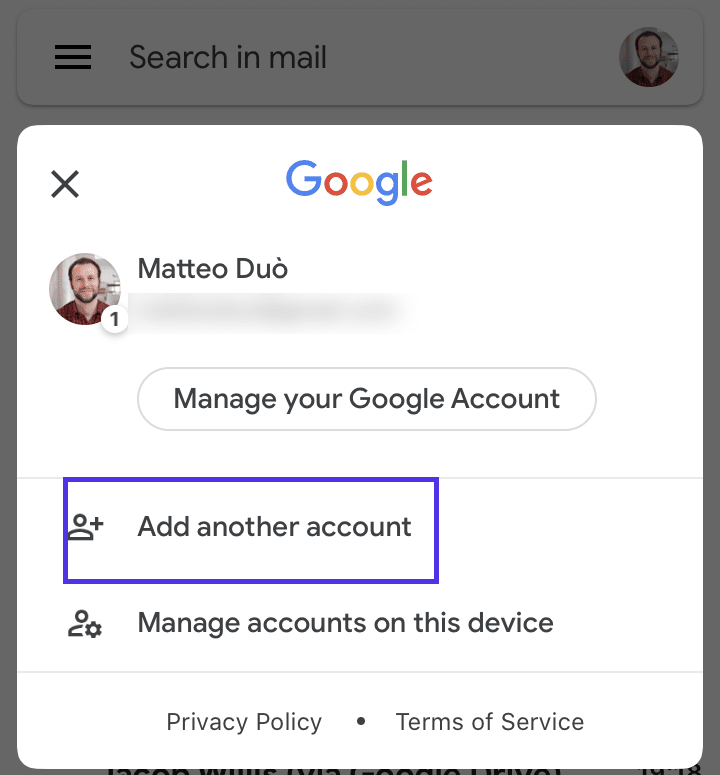 Adding a new account in Gmail (iOS)