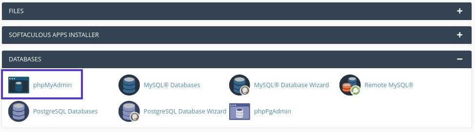 PhpMyAdmin in de 'databases' sectie van cPanel.