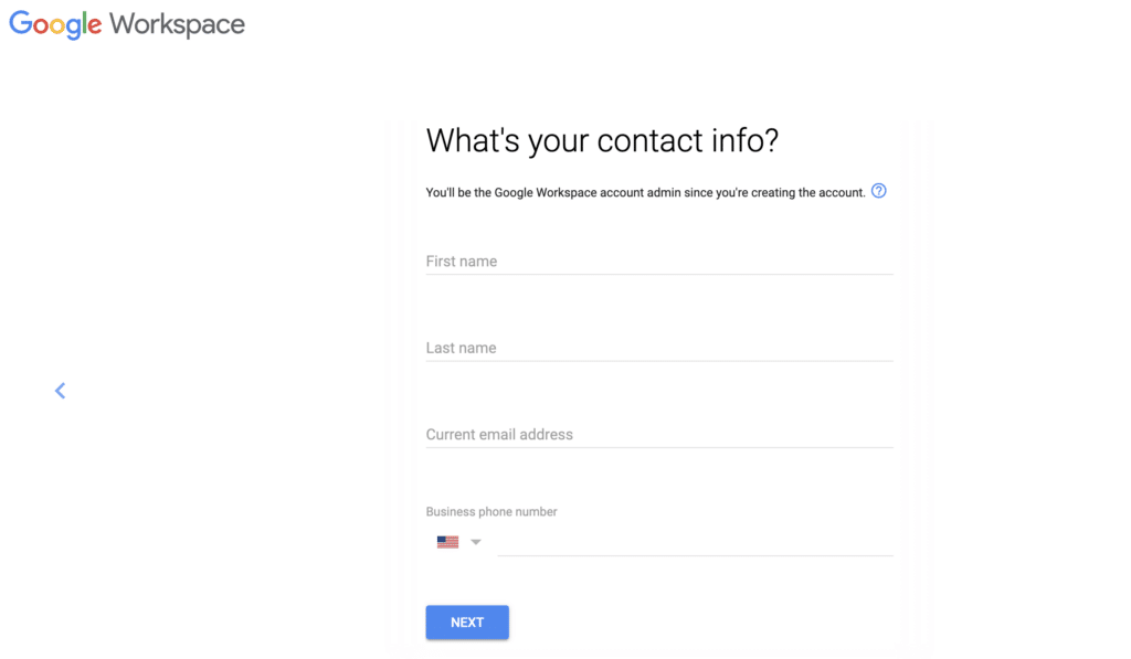Google Workspace contact info
