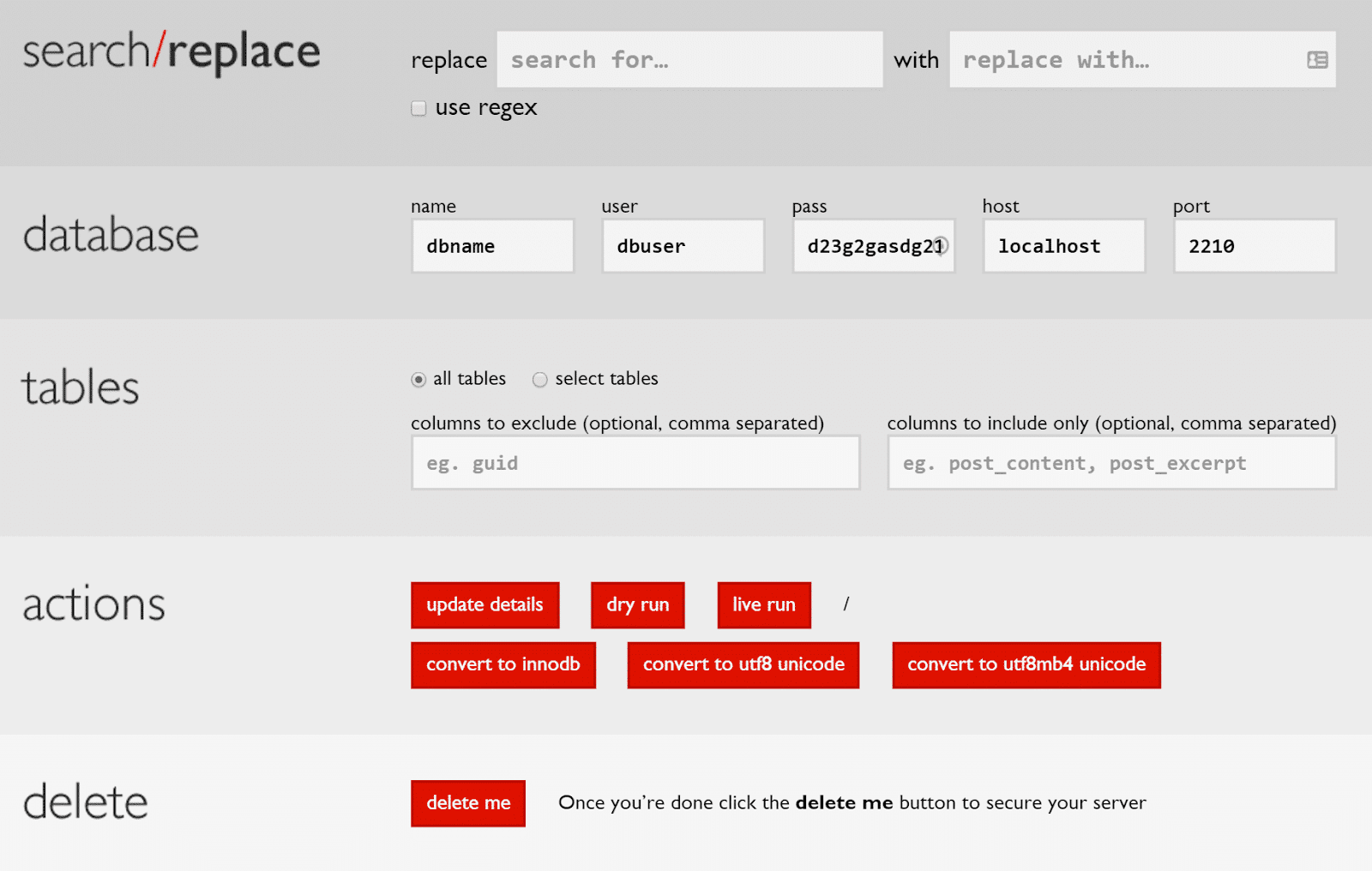 Een zoek- en vervangopdracht uitvoeren op een WordPress database.
