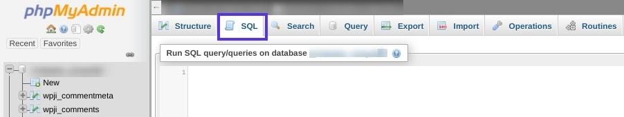 Het tabblad 'SQL' in phpMyAdmin.