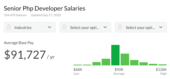 Senior PHP developer salary