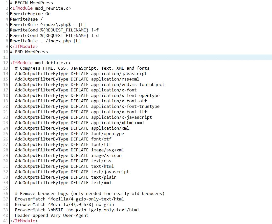 Esempio del file .htaccess di Apache dopo aver abilitato la compressione GZIP