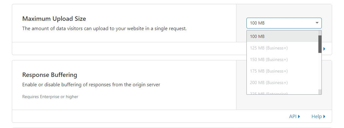 Cloudflare's 'Maximum Upload Size' limieten voor verschillende pakketten