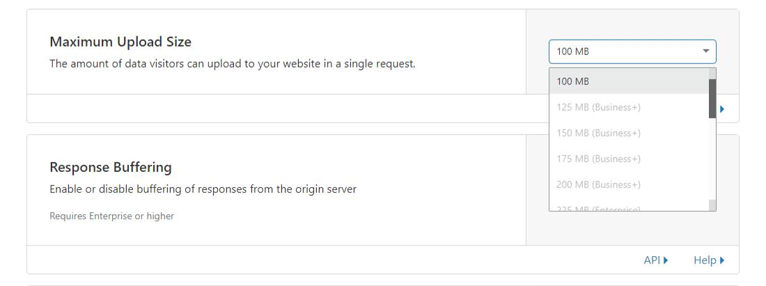 Cloudflare's 'Maximum Upload Size' limits for various plans