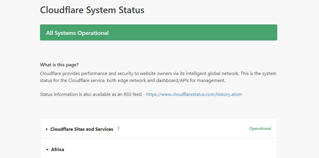 Verifique o status do sistema Cloudflare em cloudflarestatus.com
