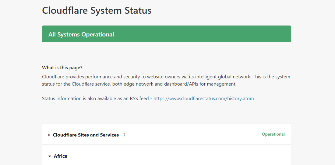 Controleer de Cloudflare System Status via cloudflarestatus.com