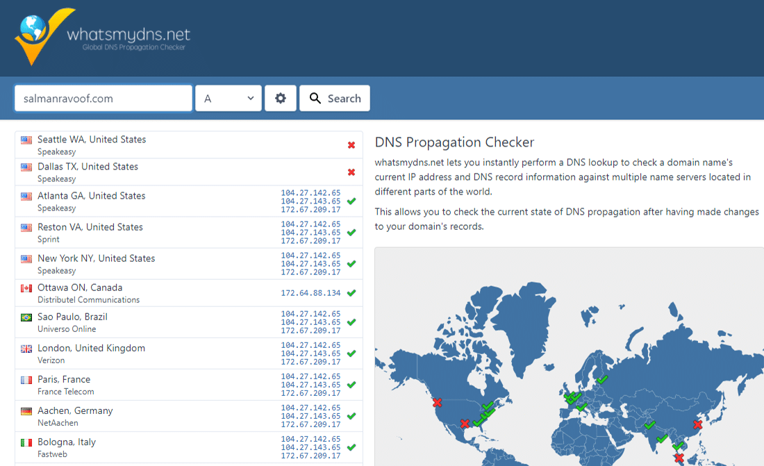 Checking DNS propagation for your domain on whatsmydns.net