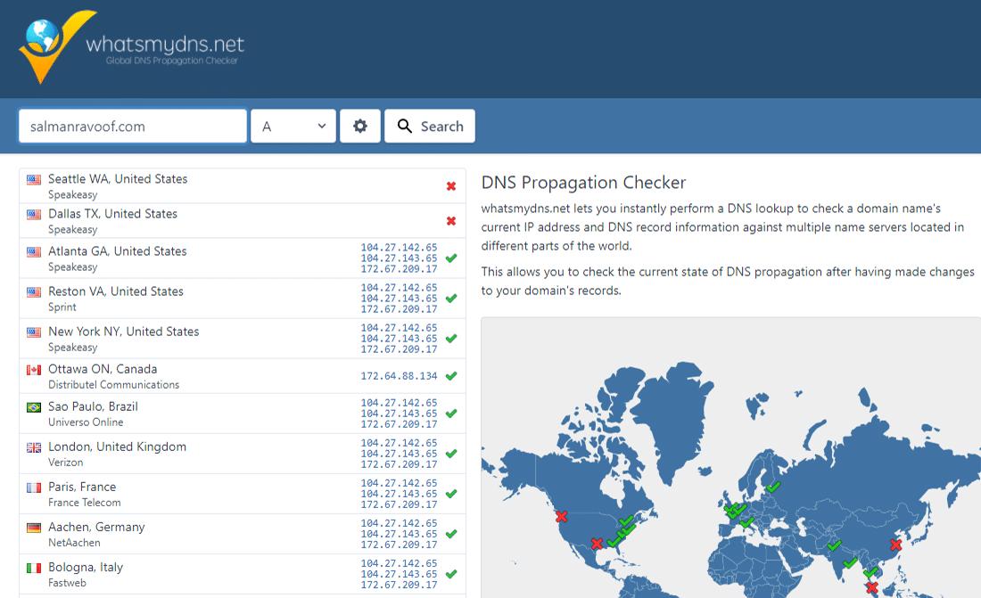 Controleren van de DNS propagatie van je domein via whatsmydns.net