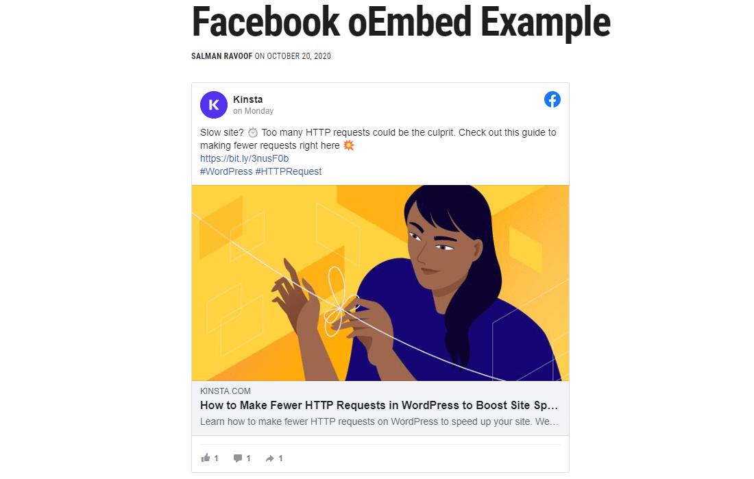 Un esempio di come WordPress incorpora i contenuti di Facebook