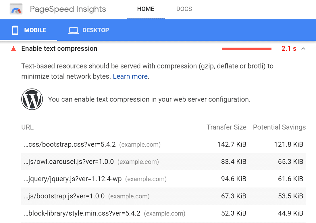"Advertencia de ""Habilitar la compresión de texto"" en Google PageSpeed Insights"