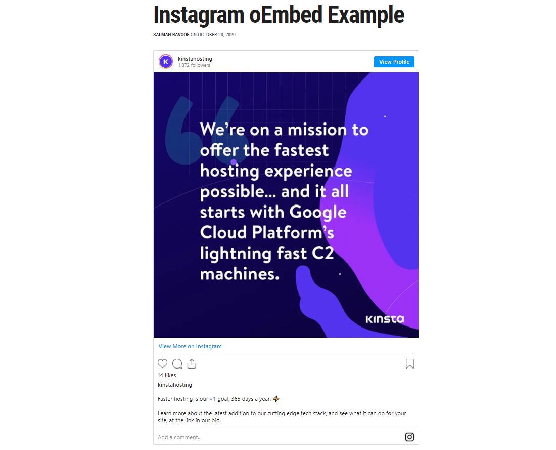 An example of how WordPress embeds Instagram content