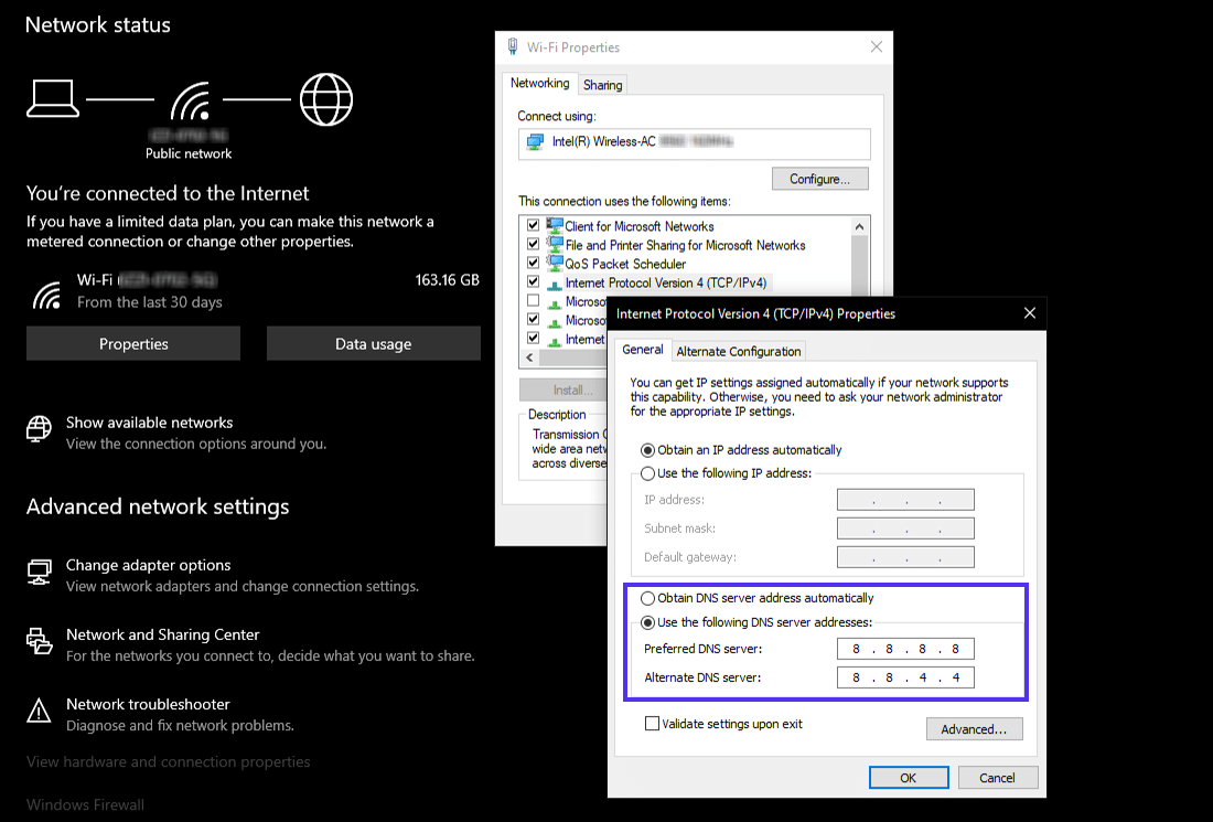 Instellingen van custom DNS servers in Windows 10