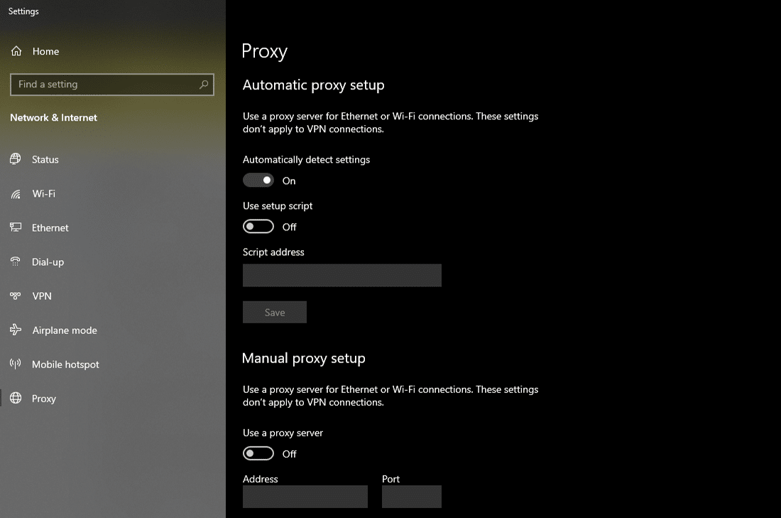 Ändern der 'Proxy'-Einstellungen in Windows 10