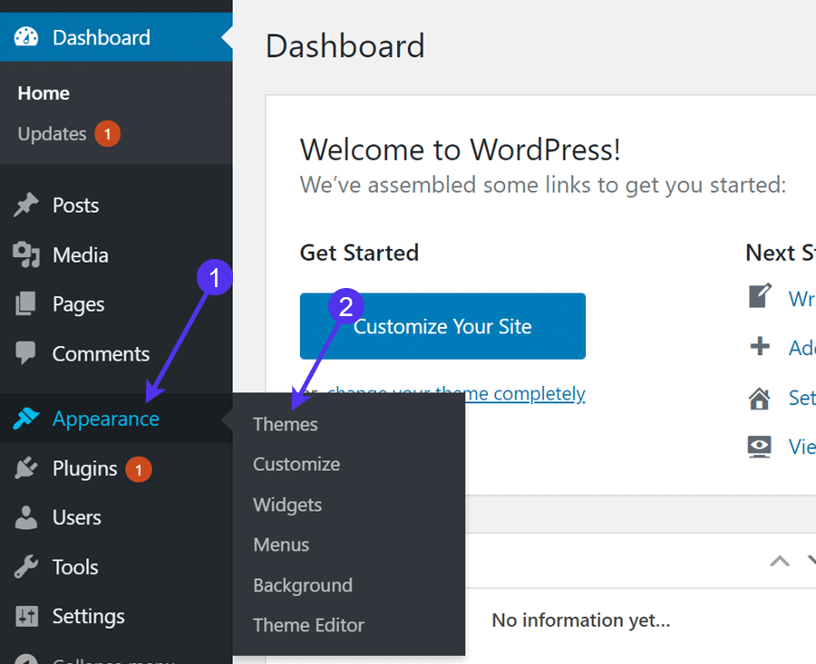 Installeer een WordPress thema via het admin dashboard.