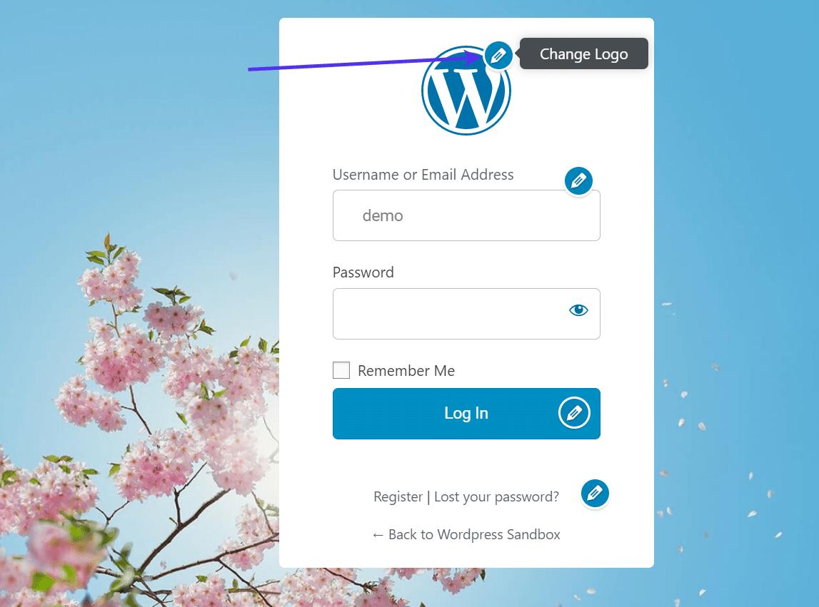 Mudança do logotipo em um formulário de registro