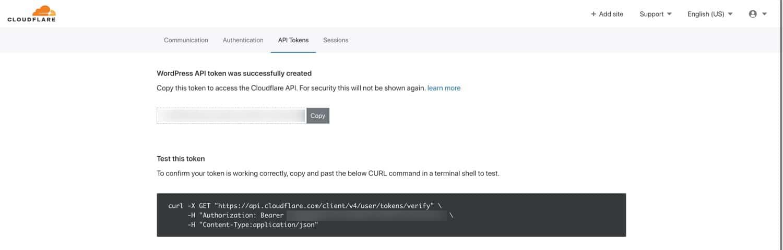 Enregistrer votre jeton d'API Cloudflare dans un endroit sûr.