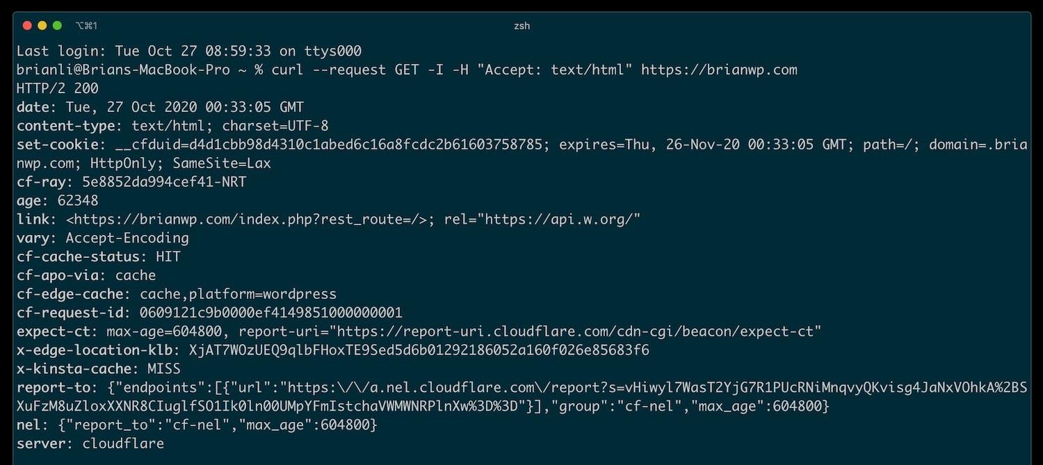 Vérifiez l'état du cache de Cloudflare APO avec curl.