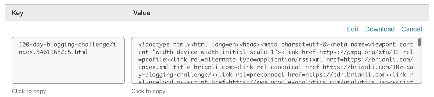Een webpagina die is opgeslagen als een key-value object in Cloudflare Workers KV.