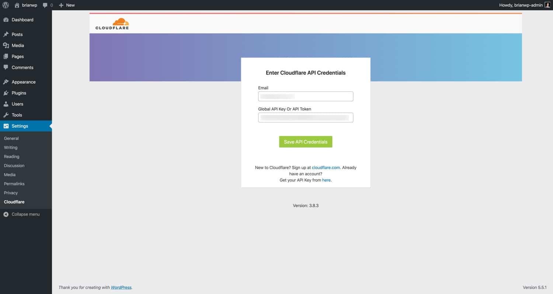 Saisissez votre adresse e-mail et le jeton d'API Cloudflare.