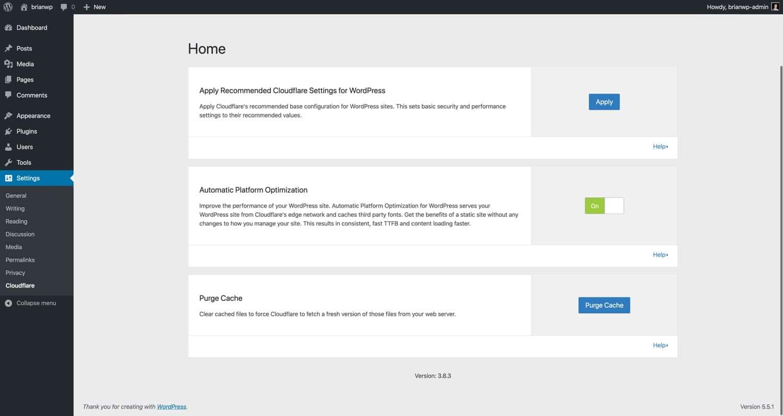 Réglages de l'extension WordPress Cloudflare.
