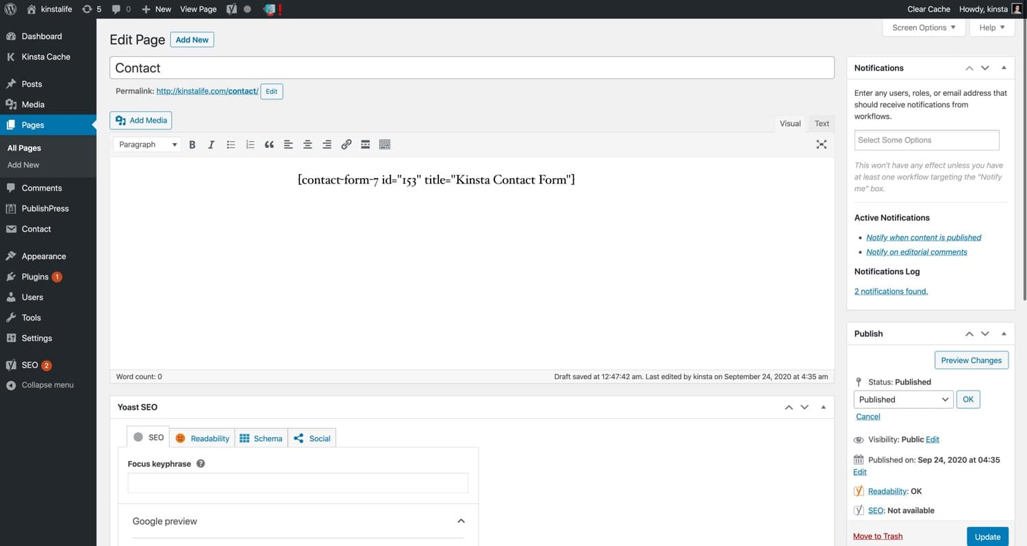 Use Contact Form 7 with the WordPress Classic Editor.