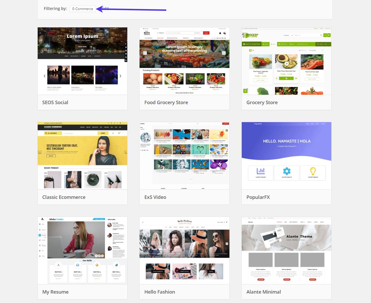 Beispiele für kostenlose E-Commerce Themes.