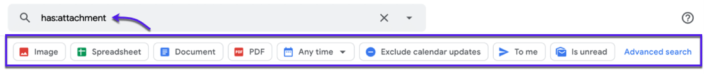 Carga previa de los filtros de búsqueda en Gmail