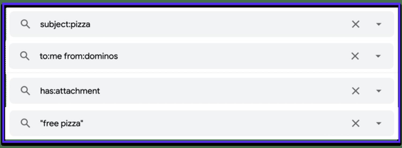 Exemples d'opérateurs de recherche Gmail utiles