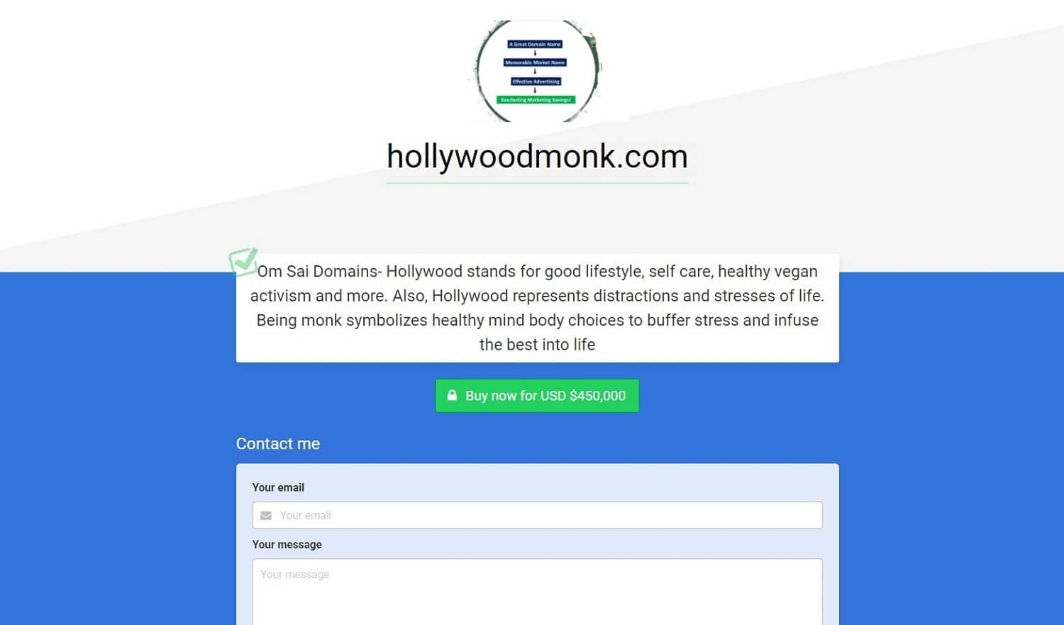 hollywood monk parked domain for sale
