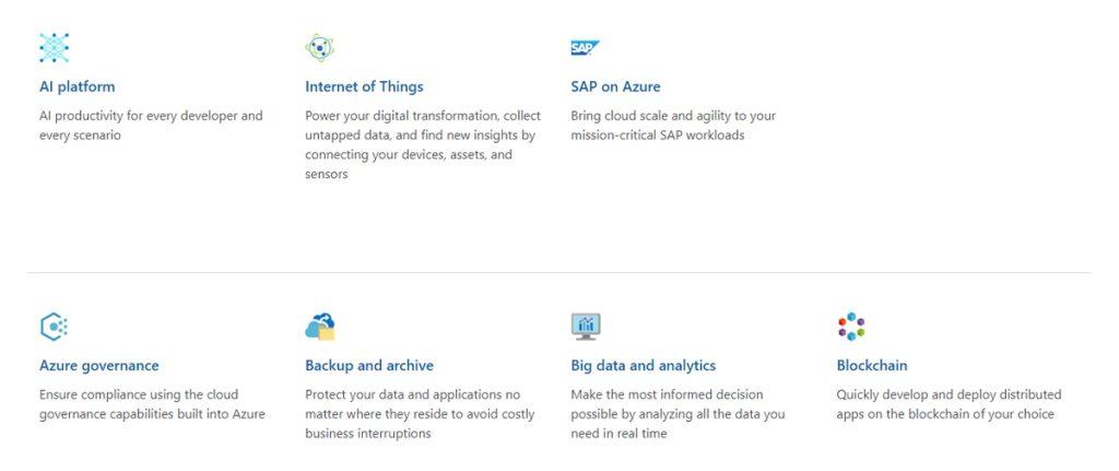 Microsoft Azure offerings.