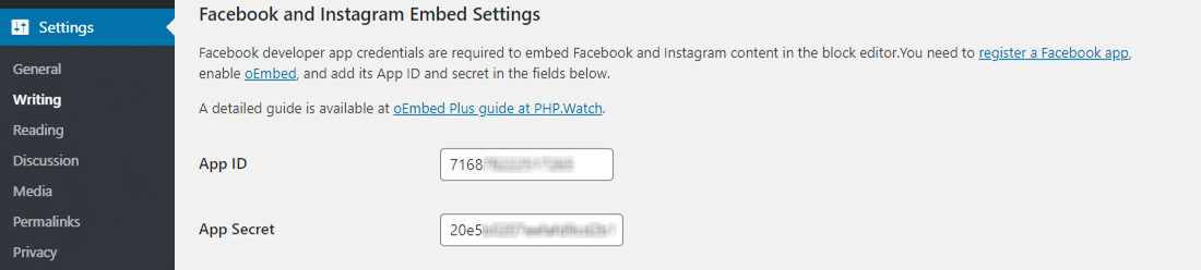 Configuring oEmbed Plus plugin settings