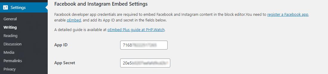 Configurazione delle impostazioni del plugin oEmbed Plus