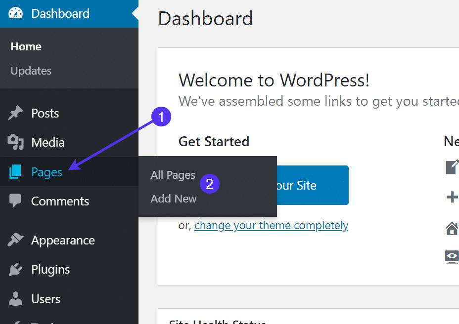 Adicionando uma nova página no WordPress