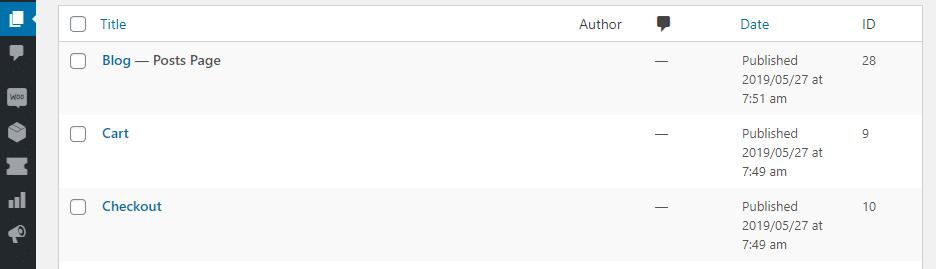 La scheda Pagine con il plugin Show IDs by 99 Robots è attivata.