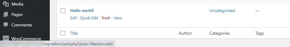 Passando il mouse sul titolo di un post si vede l'ID