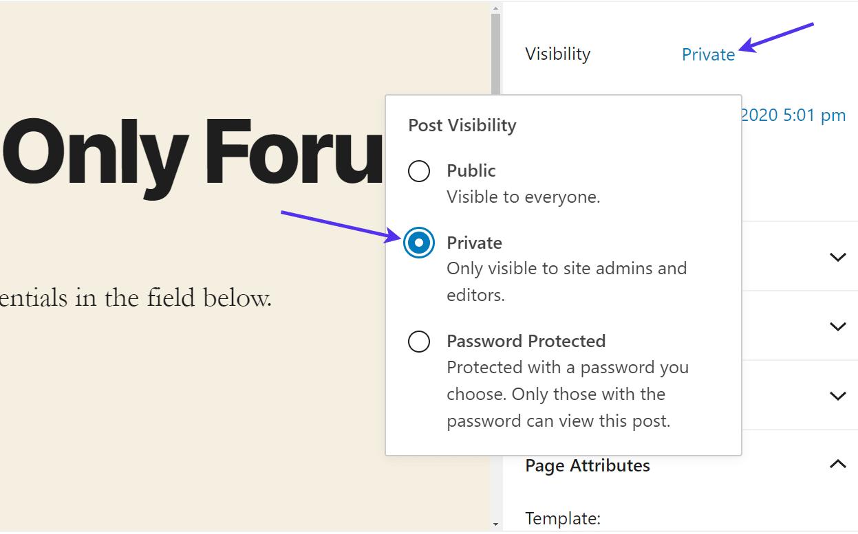 Tornar a página privada