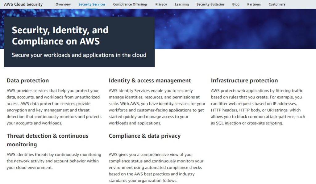 AWS security features –security, identity, and compliance.