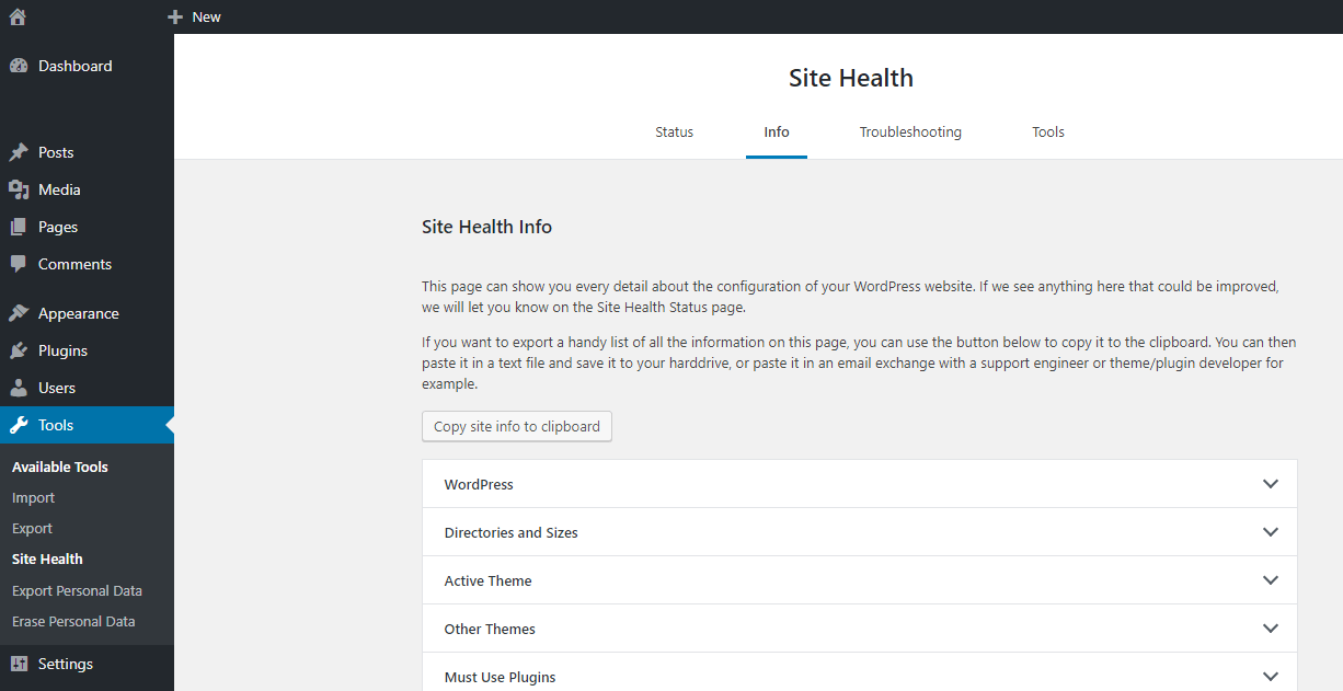 Site-Health-Informationen in WordPress ansehen