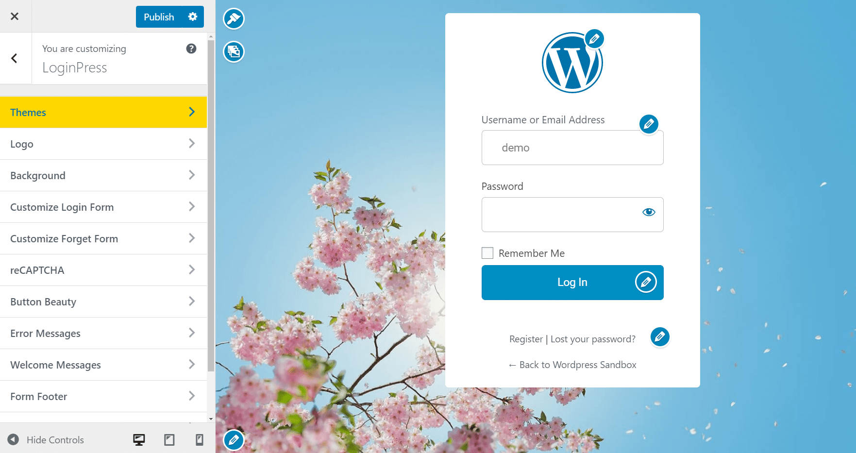 theme builder for WordPress Registration Form