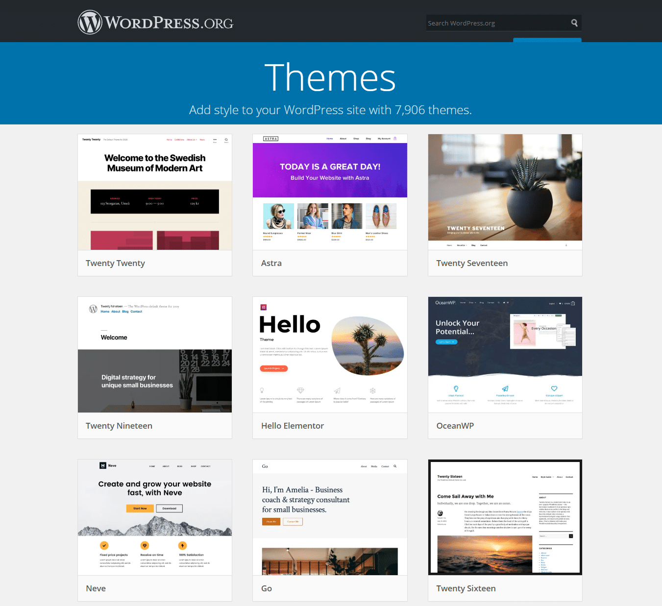 Het WordPress thema repository