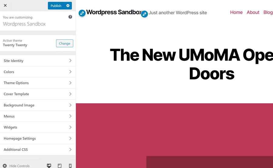 Bearbeite die Einstellungen des WordPress-Themes.