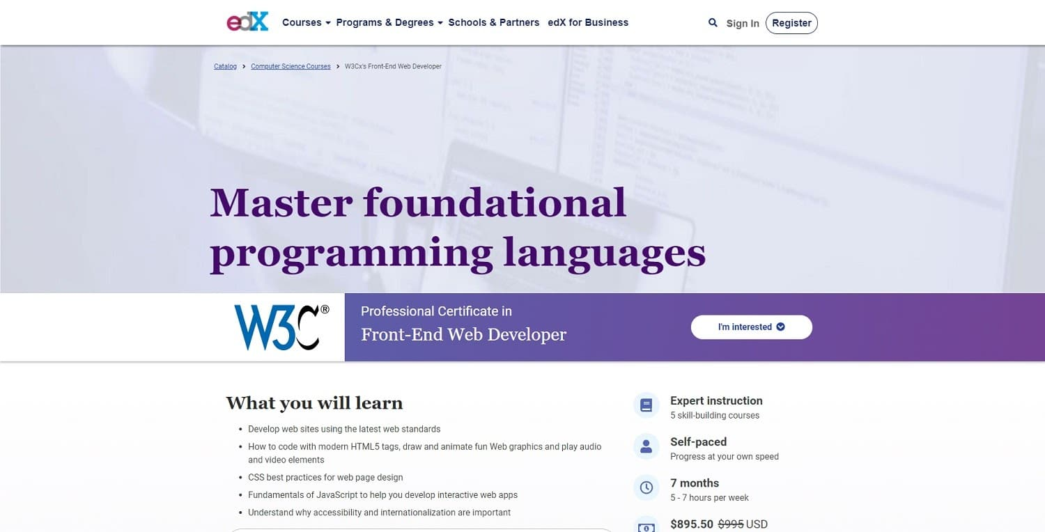 w3cx course front end development