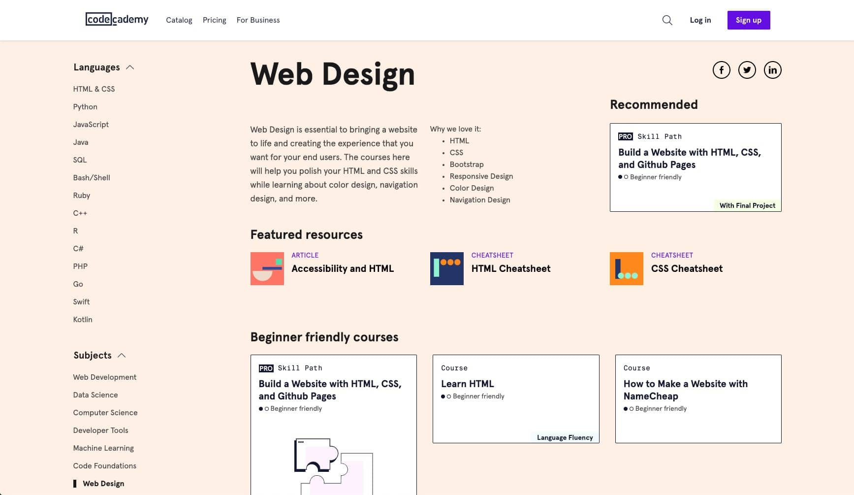 web design courses — Codecademy