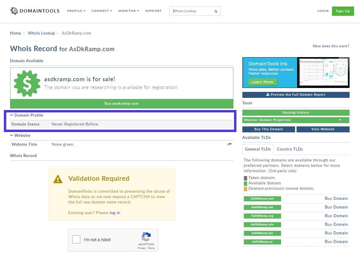 Recherche WHOIS - asdkramp.com