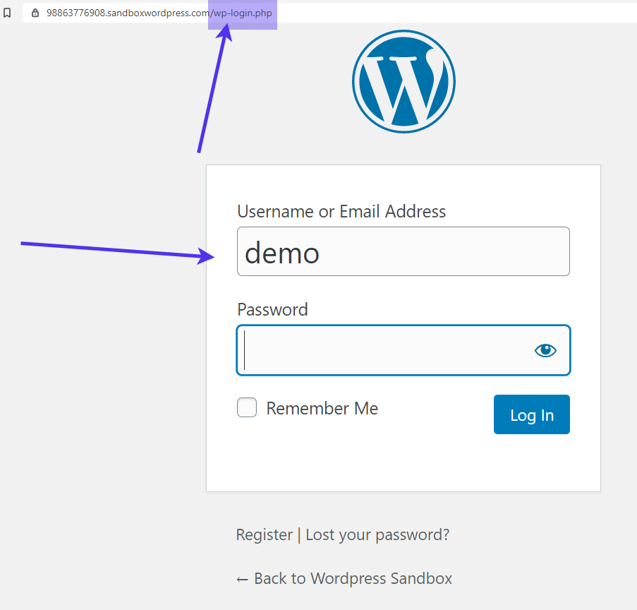 url for WordPress Registration Form