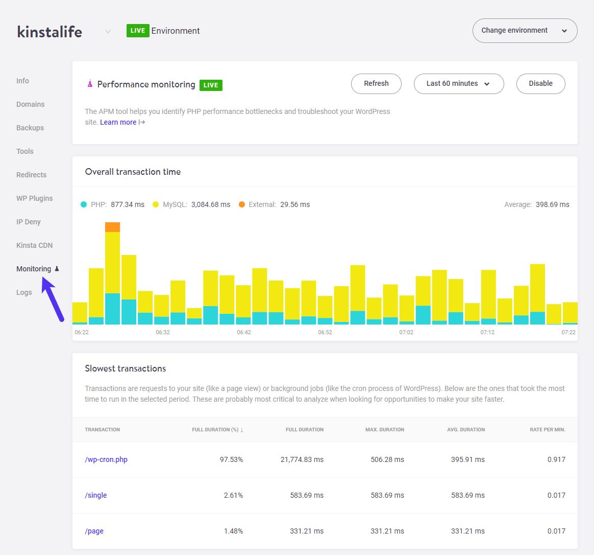 Kinsta APM Tool Beta Screenshot