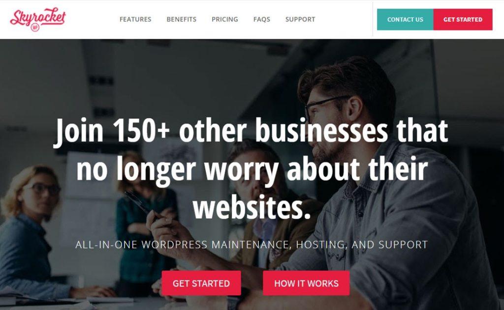 Screenshot of the the SkyrocketWP website