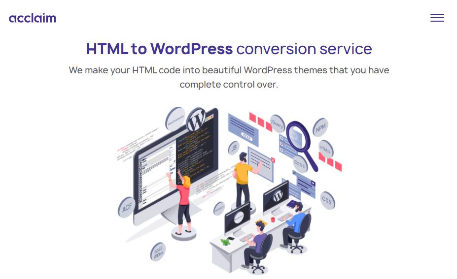 Acclaim human conversion service - HTML to WordPress